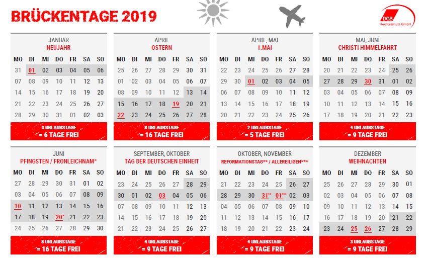 Urlaubsplanung Brückentage 2019 Dgb Rechtsschutz Gmbh