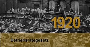 Vor hundert Jahren trat das Betriebsrätegesetz in Kraft. Damit gab es zu ersten Mal eine gesetzliche Regelung für eine betriebliche Arbeitnehmervertretung. Copyright by AVZ Sprockhövel / www.gewerkschaftsgeschichte.de Hans-Böckler-Stiftung